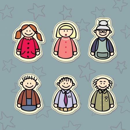 three generations: happy family, three generations  Mom, Dad, Grandma, Grandpa and the kids Illustration