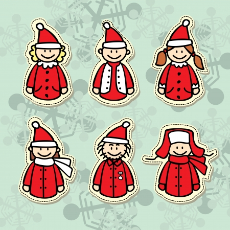 funny santa claus stickers Vector