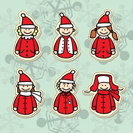 funny santa claus stickers Illustration