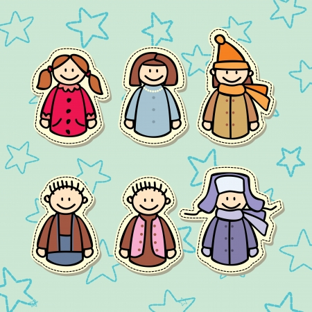 boys and girls sticker collection Vector
