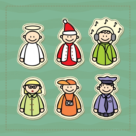 funny icons of a policeman, a DJ, a teacher, a photographer, an angel and a little Santa Stock Vector - 16540043
