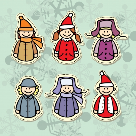 Children in winter clothes icon Vector