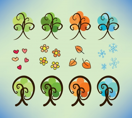 four season doodle trees Vector