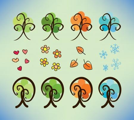 four season doodle trees