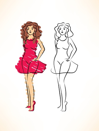 sketch of pretty woman in red dress Illustration