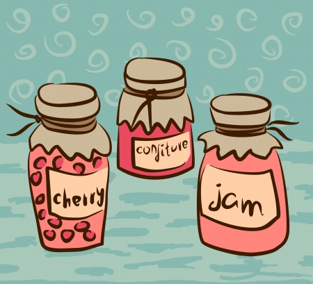 illustration with pots of the jam Vector