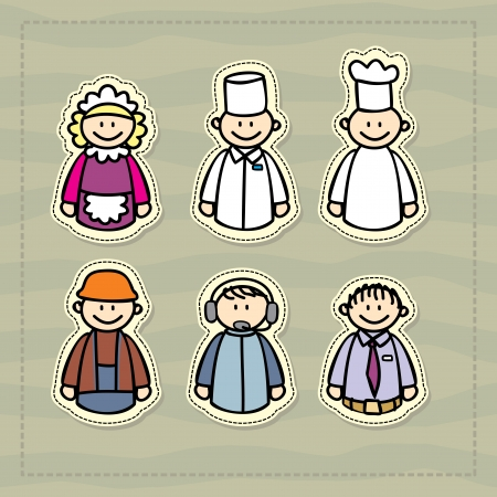 doctor, chef, waitress, manager, consultant, construction little funny illustration Vector