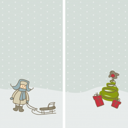 two siberian winter card with little boy and christmas tree Vector