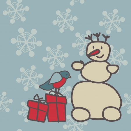 snowman and bullfinch with gifts on snowflakes background Stock Vector - 16894397