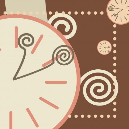 chocolate background with round clock and arrows Stock Vector - 16894384