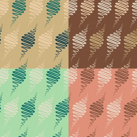 abstract spindle  seamless pattern set Vector