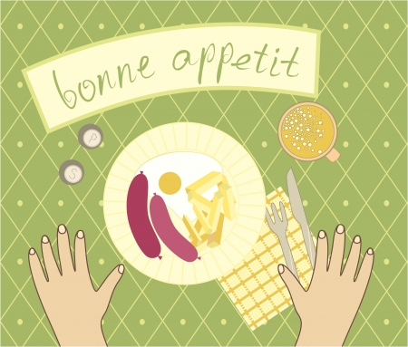 bon appetit for the supper Stock Vector - 16949425