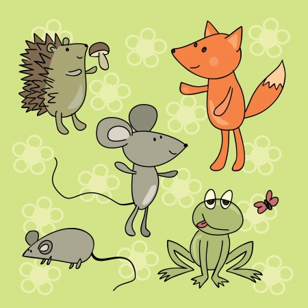 hand drawing animals collection Vector
