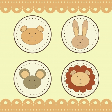animal faces in round medals Vector