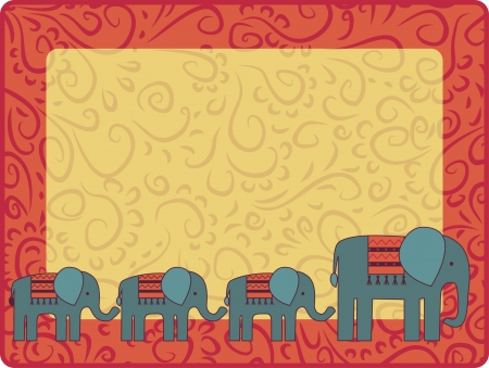frame with elephant family Vector