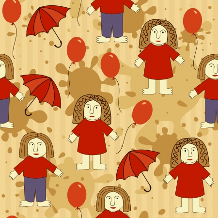 seamless pattern with funny man and woman Vector