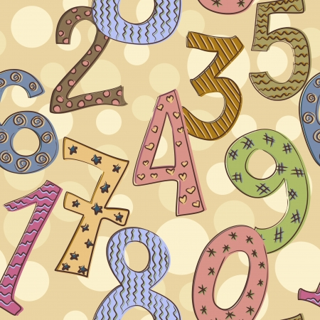 cheerful numbers seamless pattern on dotted background Vector