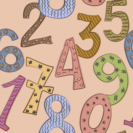 funny numbers seamless pattern Illustration