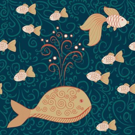 deep water seamless pattern with big whale and little fishes Vector