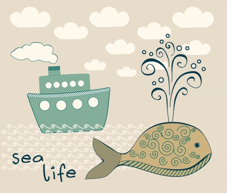 sea life composition with big whale and steamship  Vector