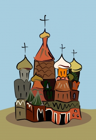 colored sketch of traditional russian church Illustration