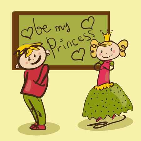 modesty: shy boy in love with the little princess funny illustration Illustration