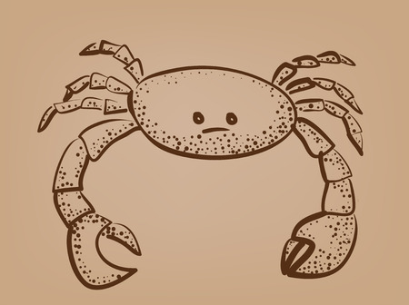 sketch of crab on brown paper abstract illustration