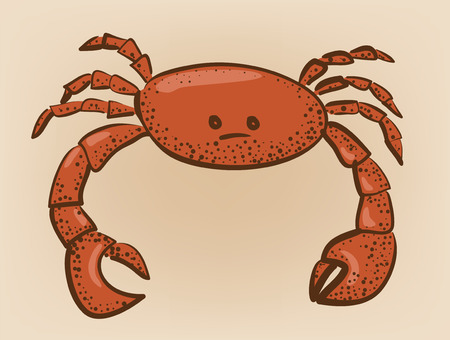 patch of light: red colored crab with patch of reflected light abstract illustration Illustration