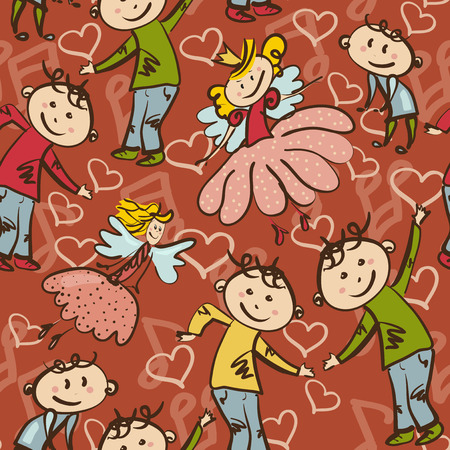 seamless pattern with dancing boys and  little fairies Vector