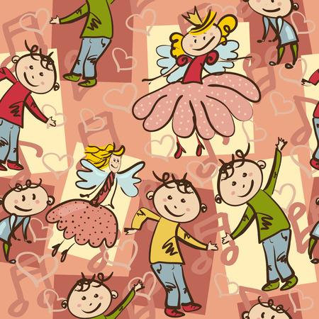 seamless pattern with joyful dancing boys and little fairies Vector