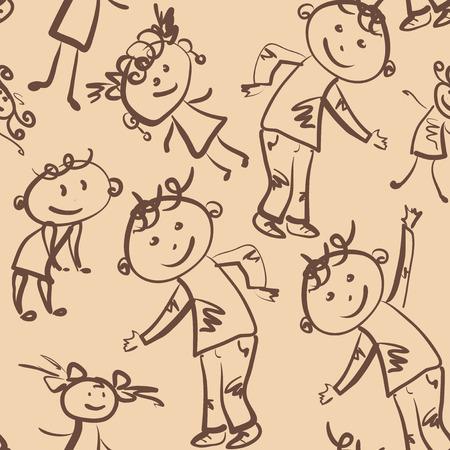 dancing children seamless pattern Vector