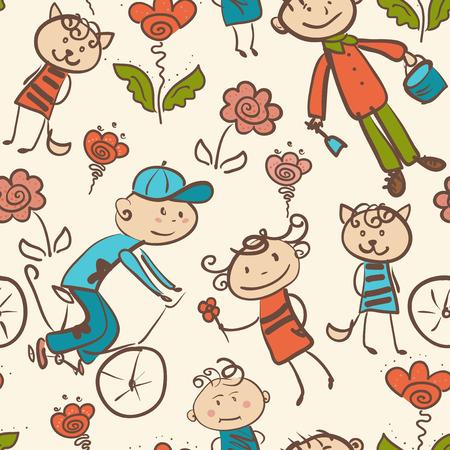 kid's: kid s outdoor recreation seamless pattern Illustration