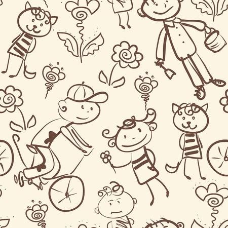 kid's: active kid s outdoor recreation monochrome seamless pattern