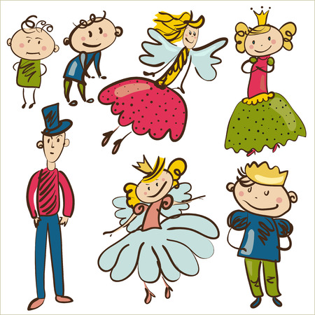 little personages from magic kingdom isolated illustration Vector