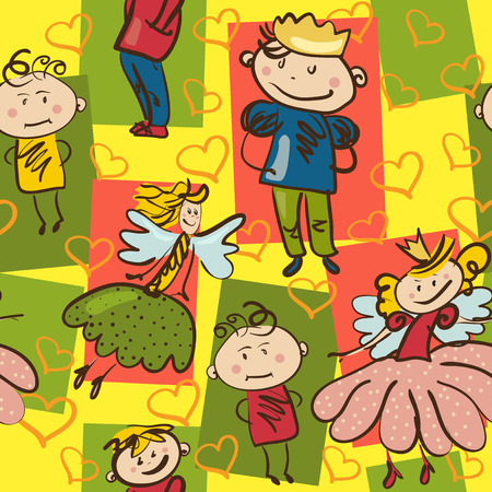bright seamless pattern with little prince, cute fairy and funny boys Vector