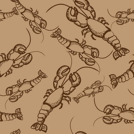 brown seamless pattern with lobsters Vector