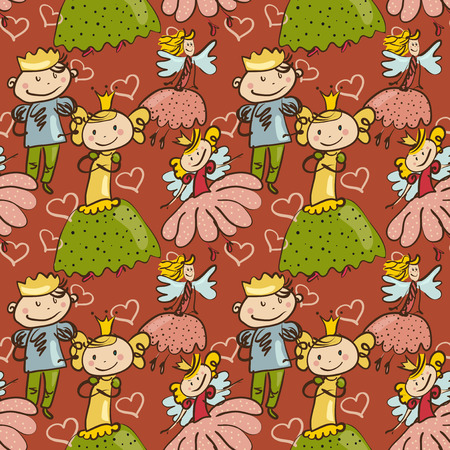 cute childlike seamless pattern with little fairy, prince and princesse Vector