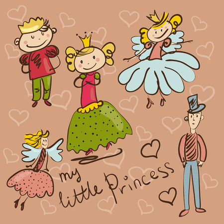 playschool: little Princess and her retinue hand drawing illustration