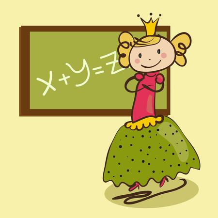 teacher student: Peque�a princesa linda cerca de la classboard
