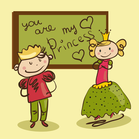 cheerful Prince wrote a love letter to his princess on blackboard Vector