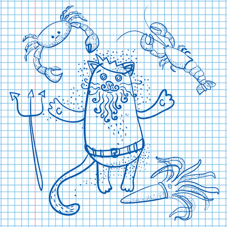 king neptune: Neptune cat and  crab, squid, lobster drawn on sheet of paper Illustration