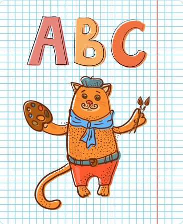 Artist cat with ABC on notepad sheet