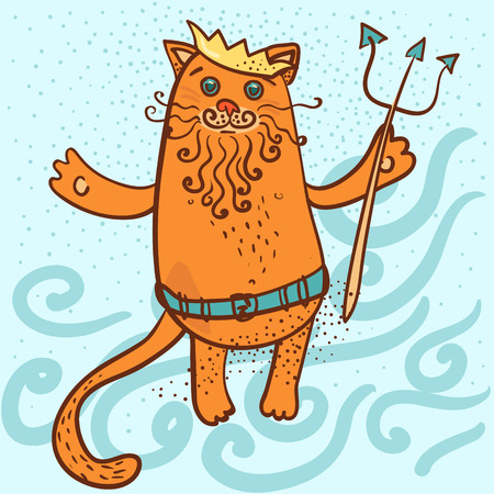 crown tail: Neptune cat vector illustration Illustration