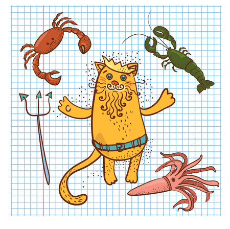 neptune: colored Neptune cat and  crab, squid, lobster drawn on sheet in notebook Illustration