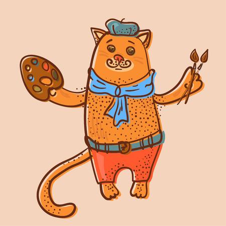 parisian: Artist cat offset image illustration Illustration