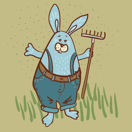 Bunny the  gardener  with a rake Illustration