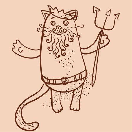 king neptune: Neptune cat outline vector illustration