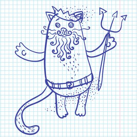 king neptune: Neptune cat drawn on sheet of paper vector illustration