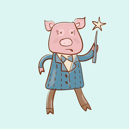 funny pig with magic stick offset image