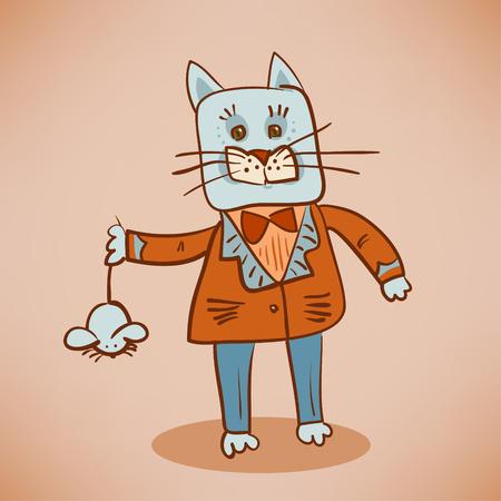 catch: fat dressed cat catch a mouse